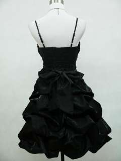 Cherlone Satin Black Sparkle Cocktail Party Prom Ball Evening Dress