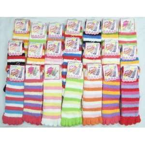 Premium Fuzzy Wild Warm Toe Socks Striped 6 Pairs Health