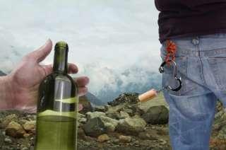 BOTTLE BINER   CARABINER CORKSCREW  WINE BOTTLE OPENER