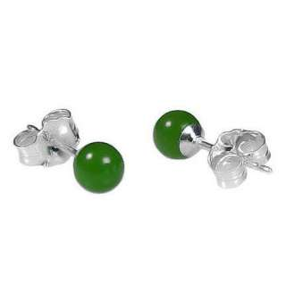 4mm Dark Green Jade Ball Studs Post Earrings 925 Silver