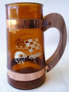 Amber Glass Beer Mugs Steins Sport Scenes Siesta Ware