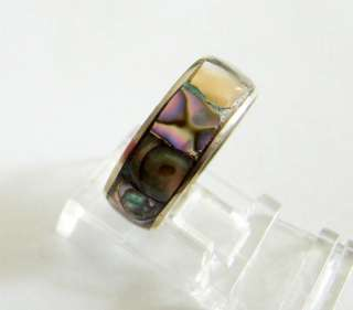 Sterling Silver Genuine Mother of Pearl Ring Band