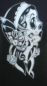 Womens Skull Print T Shirts Dia De Los Muertos Catrinas