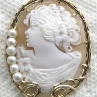 Enormous Italian Hand Carved Shell Cameo Pendant 14K Rolled Gold