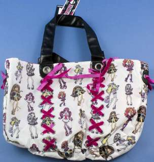 MONSTER HIGH White Girls Purse Tote Book HOBO BAG New 843340020099