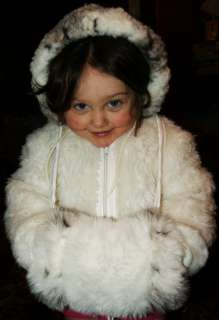 Girl Hoodie Child Jacket White Fuzzy Fur Winter Dress COAT & MUFF Lot