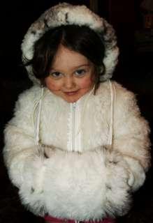 Girl Hoodie Child Jacket White Fuzzy Fur Winter Dress COAT & MUFF Lot