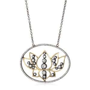 Sara Weinstock French Lace Black and Gold Lotus Pendant