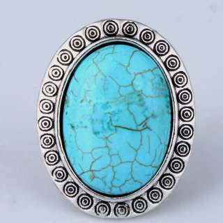 vintage tibetan silver oval turquoise carving circle finger ring