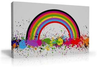 MODERN RAINBOW PAINT SPLASH ART CANVAS FUNKY COLOURFUL