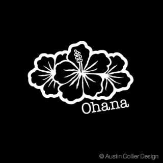 ohana w hibiscus group white vinyl decal