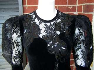 VTG 80s XS S Black Stretch Velour Lace Sequin Glam Lady GaGa Bodysuit