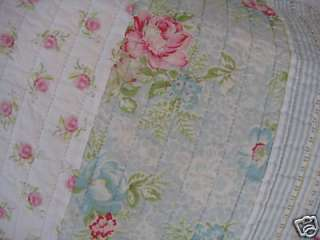 SHABBY BEACH COTTAGE CHIC PINK AQUA WHIMSY ROSES QUILT STANDARD PILLOW