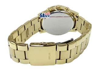 Guess U14503L1 chrono gold tone dial stainless steel band women watch
