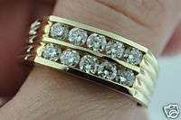 25 CT MENS DIAMOND RING channel yellow gold classy