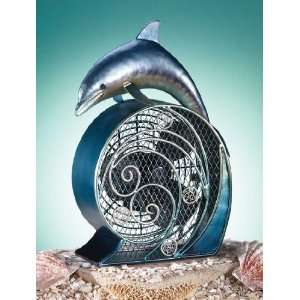 Deco Breeze Dolphin On Wave Figurine Table Desk Air Fan