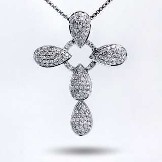 Real Authentic 18K Solid White Gold Prong Diamond Cross Shaped Pendant