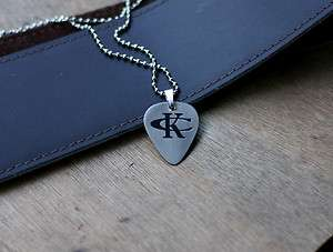 Chesney Inspired Hand Made Etched Guitar Pick Necklace   Nickel Silver