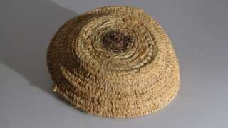ABORIGINAL WOVEN BASKET PINE NEEDLE AND EMU FEATHERS