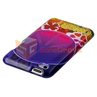 For iPod Touch 4G 7 hard Case skin Giraffe+Peace flower+3 Screen Guard