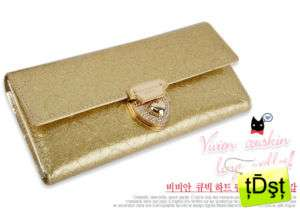 OMNIA]Crystal Ladies Checkbook Genuine Leather Purse Gold Wallet