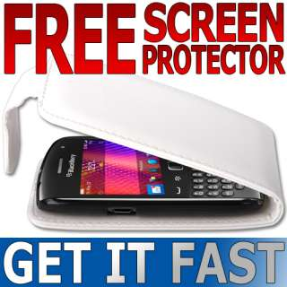 WHITE LEATHER FLIP CASE COVER / SCREEN PROTECTOR FOR BLACKBERRY 9360