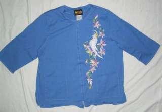 EUC Womens Bob Mackie Wearable Art Blue Top Size 1X