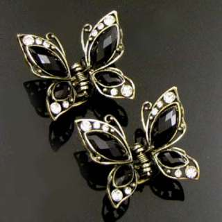 ADDL Item  2p rhinestone crystal Antiqued butterfly hair