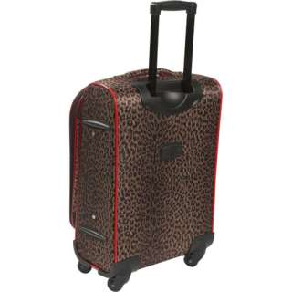 American Flyer Animal Print 5 Piece Spinner Luggage Set   Leopard Red