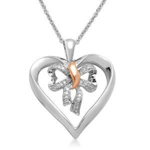 10K Rose Gold and Silver Diamond Bow in Heart Pendant (0.07 cttw, I J