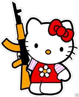 HELLO KITTY WITH AK 47 DECAL STICKER 10x12