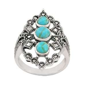 Sterling Silver Marcasite and Synthetic Turquoise Open Work Ring, Size