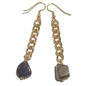 Lapis Earrings 11 Crystal Blue Gold Chain Steel Pyrite Stone