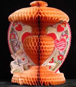 Antique Honeycomb Standing Valentine Card 1929