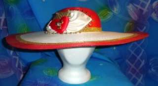 Valentines Heart Lrg Brim Red & Gold Straw Ladies Hat