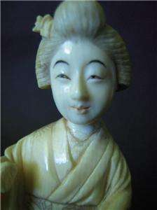 antique Japanese Meiji ? SIGNED FAUX IVORY carving FIGURE GEISHA lady