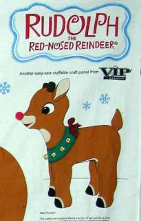 Stuffable RUDOLPH Red Nose Reindeer Fabric Panel Craft