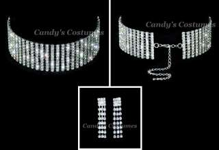 10 row *RHINESTONE* crystal CHOKER necklace BRIDAL prom