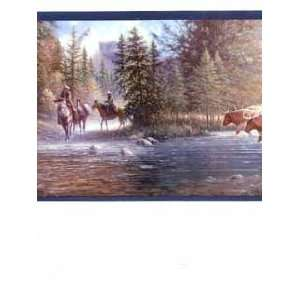 High Country Lodge Cattle Crossing Wallpaper Border Home