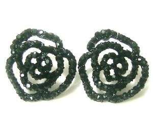 Black jet flower rose crystal rhinestone studs ear ring