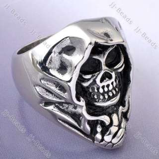 Punk Gothic Stainless Steel Black Ghost Skull Ring Sz11 Retro Jewelry