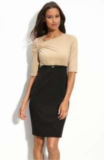 NWT Calvin Klein Belted Mock Two Piece Career Dress Black Camel 12