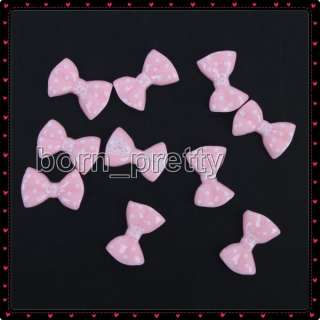 10 pcs Pink Bowknot Shape 3D Stickers Nail Art
