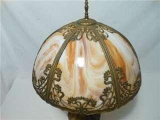 Antique Art Nouveau Rich Caramel Slag Glass 6 Panel Table Lamp Fern