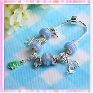 Stripe Big Beads Cluster Xmas Chain Bracelet Bangle P1256 Beauty