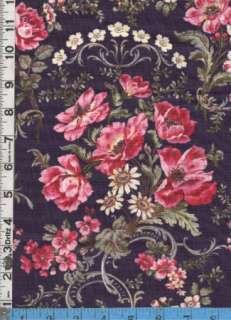 Fabric Benartex AUBREY ROSE ROMANITIC FLORAL PINK purpl