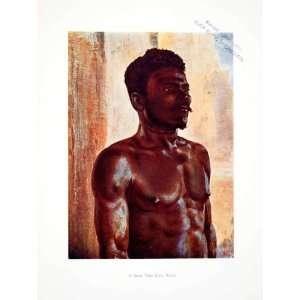 1906 Color Print Kru Bassa Man Portrait Liberia Africa