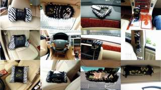 Black + White Zebra Lace Series Bow Car Auto Seat Holder Cover