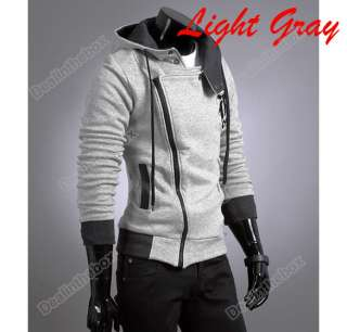 New Mens Fashion Slim Top Designed Hoodie Winter Coat Jacket 3 Color