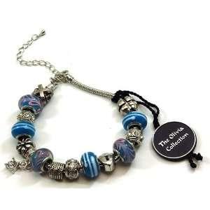 TOC BEADZ Branded Blue Charm Bead Bracelet Jewelry